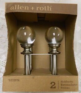 NEW ALLEN & ROTH HOLDBACK TIE BACKS BRUSHED NICKEL w/ CLEAR ACRYLIC BALL FINIALS