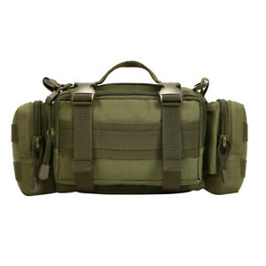 Waterproof Molle Bumbag Waist Pack Outdoor Belt Shoulder Bag Army Green