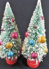 "2 Vintage 8"" Bottle Brush Trees Mercury Ornaments, Beads, Snow Holt Howard"