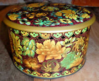 Vintage Tin Brown Floral Canister Daher Metal Container with Lid Made in England