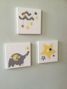 3 NURSERY CANVASES ELEPHANT GREY YELLOW STARS CLOUD geometric wall art baby boy