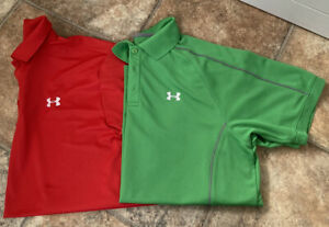 UNDER ARMOUR - MENS - GOLF POLO SHIRT BUNDLE - TSHIRT - RED - GREEN - LARGE