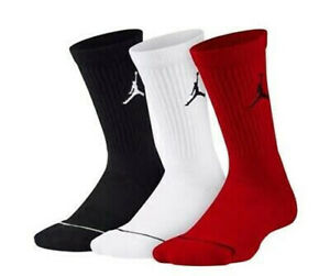Jordan Jumpman EVERYDAY MAX CREW Socks Mens Size L(8-12) 3-Pack black white red