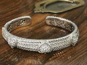 Judith Ripka 925 Sterling SIlver Diamonique Triple Heart Hinge Cuff Bracelet