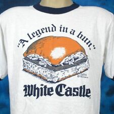 Nos vtg 80s White Castle A Legend In A Bun Paper Thin Ringer T-Shirt M/L burger