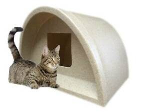 £49 ONLY -WATERPROOF OUTDOOR CAT KENNEL PLASTIC CAT HOUSE SHELTER BED