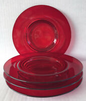 "Vintage Ruby Red Glass Salad Plates 8"" Footed Set Of 4 Depression Era"