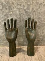 Pair of Rustic Hand Glove Molds, Chippy Vintage Style Table Decor