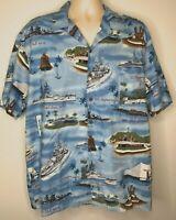 Kalaheo Pearl Harbor Hawaiian Aloha Shirt Size XL Military Navy Made In USA