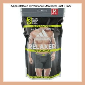 Adidas Relaxed Performance Men's Boxer Briefs 3 Pack Size S M L XL Black Mens