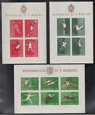 OLYMPICS ROMA FOGLIETTI SAN MARINO 1960 OLIMPIADI SERIE 3 BF N.D. NUOVI MNH**