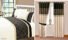 New Damask Jacquard Bedding Quilt Cover or Ringtop Curtains Purple Black Gold