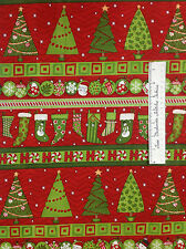 SSI Fabric - Ho Ho Holiday Debbie Mumm Christmas Stocking Tree Stripe YARDS