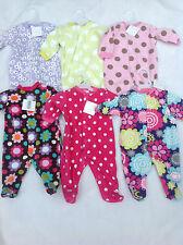 BABY GIRLS FLEECE ALL IN ONE BABYGROW NB, 0-3, 3-6, 6-9 VARIOUS DESIGNS