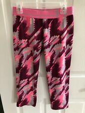 Girl's Under Armour Pink Red Gray Athletic Pants Bottoms 3/4 Size Large 14-16