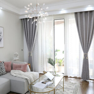 -Imitation linen Modern Curtains Living Room Shading Cloth Thermal Insulated /US