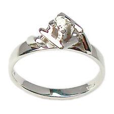 Solitario anillo de oro blanco 18 ct con diamante de las mujeres compromiso
