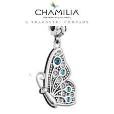 Genuine chamilia 925 de plata y Swarovski mejor amigo Mariposa Encanto Azul L