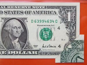 $1 2001 federal reserve note graded error:  printed fold  26-091