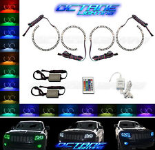 11-14 Jeep Grand Cherokee Multi-Color Changing LED RGB Halo Headlight Rings IR