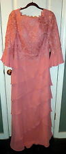 NEW IZIDRESS Formal Coral Peach Princess Lace Bateau Chiffon Dress Sz 12 w TAGS