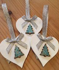 3 X Handmade Christmas Decorations Shabby Chic Wood Heart Tree Bows Silver Blue