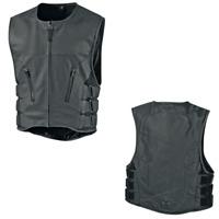 Black ICON Regulator D3O Leather Motorcycle Vest Choose Size