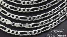 Echt 925 Silber Massive Figarokette kette Sterlingsilber Herren Hals schmuck 60