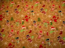Christmas Fabric By Yard Snowmen Gift Tree Stocking Snowflakes on Tan Cotton #46