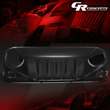 FOR 07-17 JEEP WRANGLER MATTE BLACK FRONT BUMPER ANGRY BIRD DIAMOND MESH GRILLE