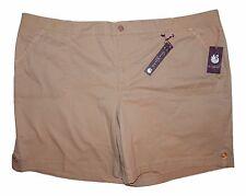 Gloria Vanderbilt Womans Plus 24W Jess Button-Tab Shorts Latte Khaki NEW $46