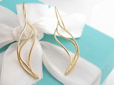 Tiffany & Co 18K Yellow Gold Wave Dangle Dangling Peretti Earrings