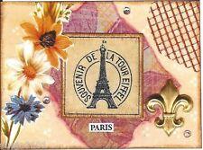 ACEO ATC Art Card Collage Print Paris France Eiffel Tower Fleur de Lis Flowers