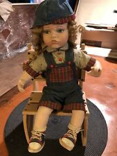"""Vintage Porcelain Time Out Doll code Toddler with Wooden """"Time Out� Chair 15''"""