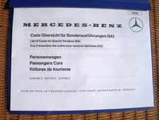 Mercedes W113 280SL 250SL 230SL Options Accessories Equipment Code List Manual
