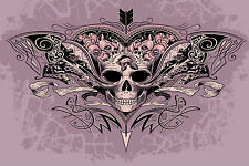 STUNNING SKULL TATTOO CANVAS PICTURE #12 PURPLE GOTHIC WALL HANGING POP ART