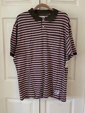 STUSSY Polo Style Golf Shirt Pink Stripe Brand New RARE
