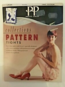 Pretty Polly. Large Platinum Tights Collections Pattern Tights. Poor Packaging