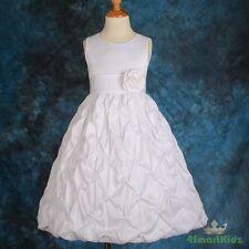 White FlowerGirl Flower Girl Dresses Wedding Bridesmaid Party Pattern Size 4 179