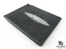 PELGIO Real Genuine Stingray Skin Leather Money Clip Slim Bifold Wallet Black