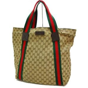Auth GUCCI GG Canvas Shoulder Tote Bag Brown 0906a
