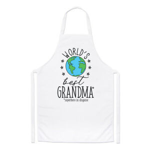 World's Best Grandma Chefs Apron - Funny Gift Present Grandmother Cooking BBQ