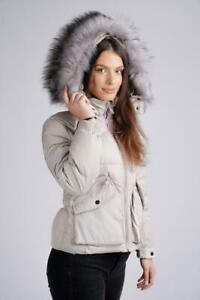 LADIES WOMENS GIRLS WINTER JACKET GREY WITH REALLY THICK FAUX FUR TRIM