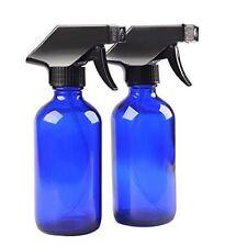 8oz Large Cobalt Blue Boston Glass Bottles with Black Trigger Sprayer (2-PACK)