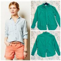 Cloth & Stone Anthropologie  SPLIT BACK TOP BLOUSE GREEN size xs  New