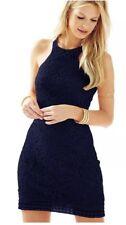 NWT LILLY PULITZER True Navy Knit Crochet Jaimie Shift Dress size S orig $248