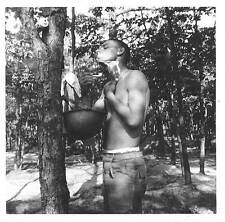 Vintage Photo:  SOLDIER SHAVING in the Field.  South Carolina, July, 1954
