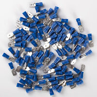 """100pcs NEW 14-16 GAUGE AWG .250"""" BLUE MALE QUICK DISCONNECT TERMINALS 1/4"""""""