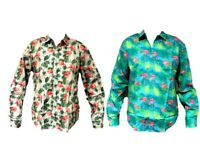 Men's Long Sleeve Casual Shirt Tropical Hawaiian Shirt Beach Top 100% Cotton