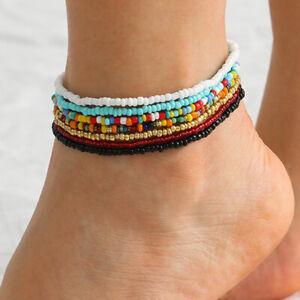 7pcs/set Colorful  Handmade Beaded Anklet Bracelet Women Adjustable Foot J^lk